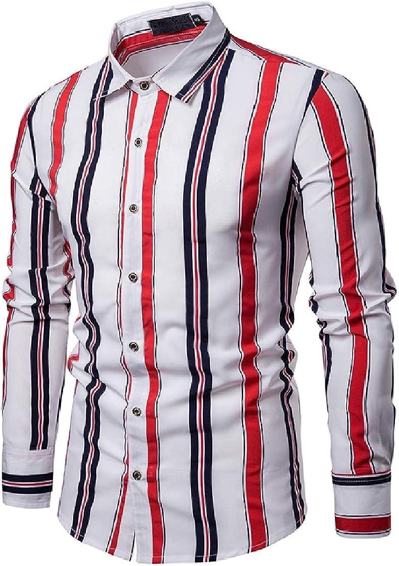 DressU Mens Long Sleeve Vertical Stripes Peaked Collar Gentleman Longshirt