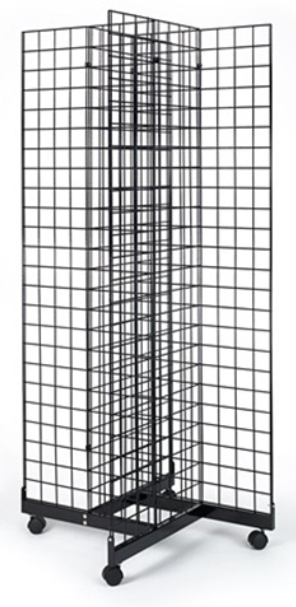 2' x 6' Grid Panel 4-Sided Floorstanding Display Fixture with Rolling Base. Matte Black