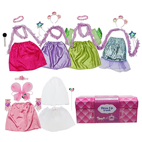 a99e99c73512 Amazon.com: Girls Dress up Trunk Princess,Mermaid,Bride,Pop Star,  Ballerina,Fairy Costume Set for Little Girls Toddler 3-6yrs: Toys & Games