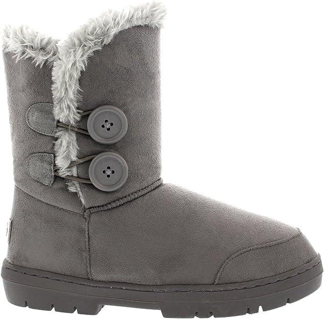 TALLA 43 EU. Mujeres Doble Button totalmente alineada botas piel impermeable de la nieve del invierno