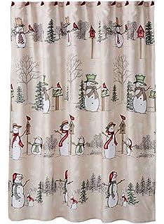Rustic Snowman Land Christmas Shower Curtain Matching 12 Cardinal Hooks Set
