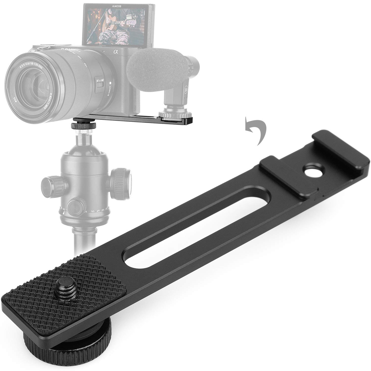 ChromLives Cold Shoe Bracket Extension Bar Hot Shoe Extension Vlog Video Microphone Mount with 1/4'' Tripod Screw for Mirrorless Camera Vlogging Sony A6400 6300 6500 6000 Zhiyun 4 DJI Osmo Pocket