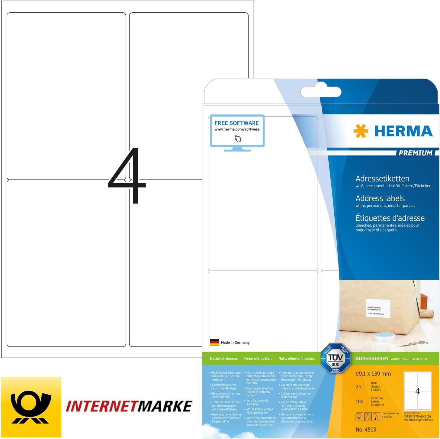 HERMA 4653 Adressetiketten Premium A4 99,1x93,1mm 600 Stück selbstklebend weiß