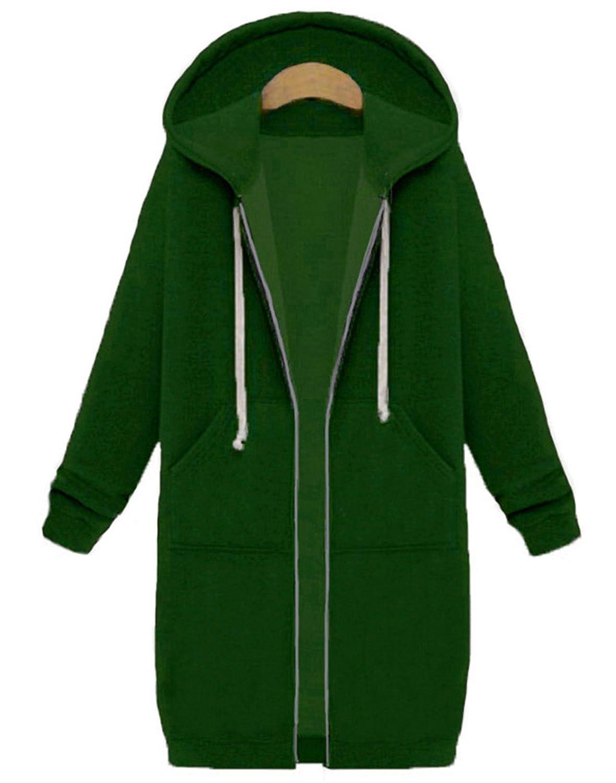 Women Casual Long Hoodies Sweatshirt Coat Pockets Zip Up Outerwear Hooded Jacket Plus Size Tops