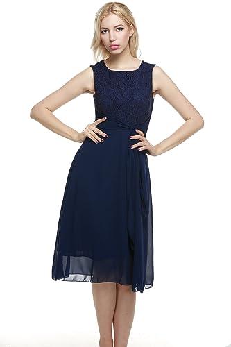 Zeagoo Elegant Women Sleeveless Flare Fit Sundress Lace Chiffon Party Prom Dress