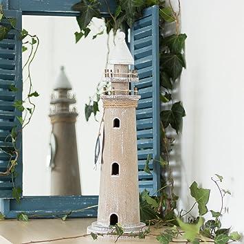 Antikas - Leuchtturm aus Holz, Skulptur als maritime Deko ...