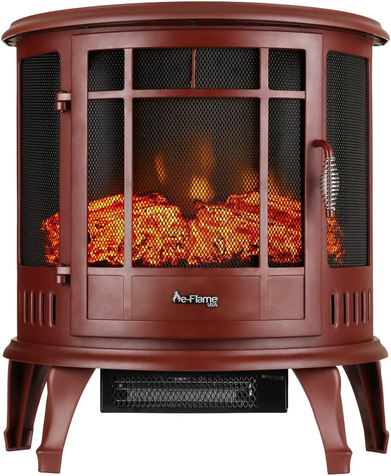 e-Flame USA Regal Free Standing Electric Fireplace (Red)