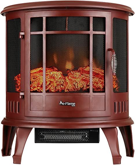 E Flame Usa Regal Freestanding Electric Fireplace Stove 3 D Log And Fire Effect Red Amazon Ca Home Kitchen