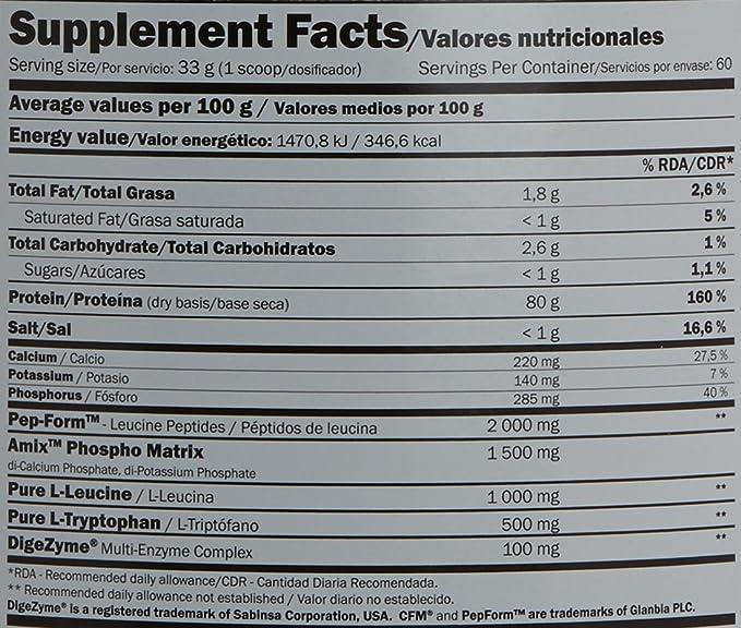 Amix 8594159536609, Proteínas, 2000 gr: Amazon.es: Salud y cuidado personal