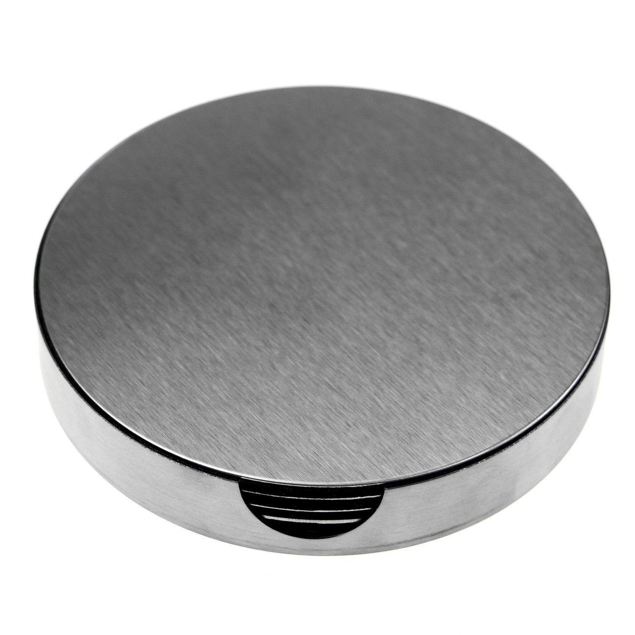 SINDBIN 6pc Stainless Steel Drink Coasters with Holder, Table Coasters for Glasses, Bar Drinks, Mugs, Coffee Cups