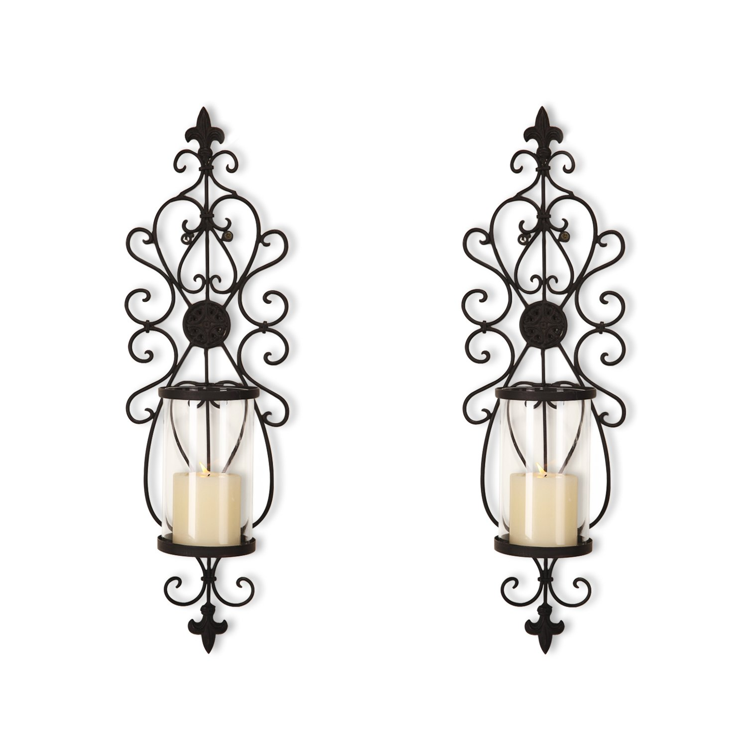 Joveco Decorative Wall Mount Candle Sconces Holders Set of 2 Antique