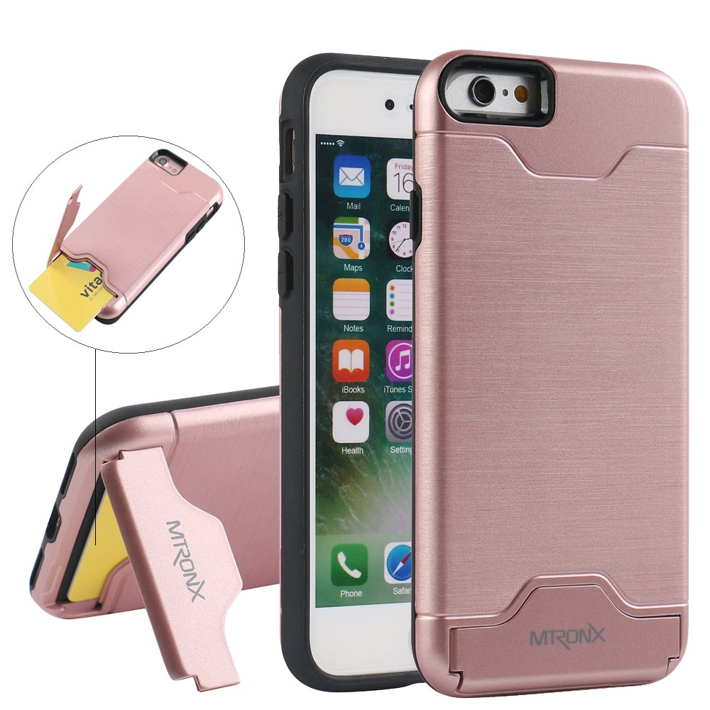 Funda iPhone s Funda iPhone MTRONX Cover Carcasa Caso Ranura Tarjetas Soporte
