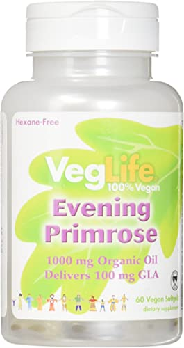 VegLife Evening Primrose Oil Organic Vegan Softgel, 1000 mg, 60 Count