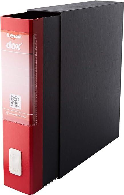 Leitz D26211 - Archivador de Palanca DOX con Caja Folio (28,5X35 cm) Color Negro, Rojo: Amazon.es: Oficina y papelería