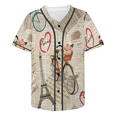 a6d413ce80d4 Amazon.com: INTERESTPRINT Men's Button Down Baseball Jersey Paris ...