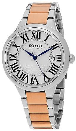 SO&CO New York Womens 5052B.3 Madison Quartz Date Stainless Steel Two Tone Link Bracelet