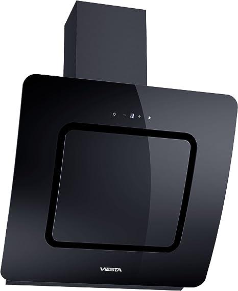 Viesta DH600D Campana de cocina 60cm incluido filtro de carbono activo - Campana extractora/Sensor de control táctil, iluminación LED, hecho de acero y cristal negro: Amazon.es: Grandes electrodomésticos