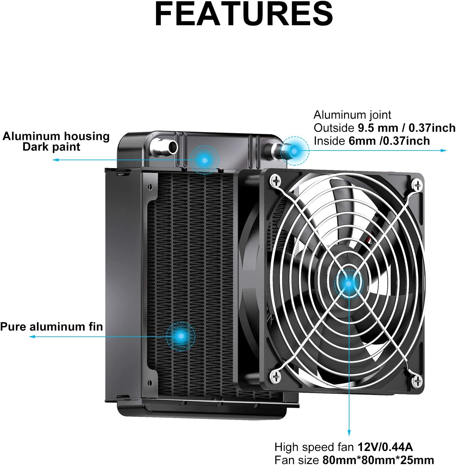 8 Pipe Aluminum Heat Exchanger Radiator for PC CPU Computer Water Cool System 80mm Clyxgs Water Cooling Radiator