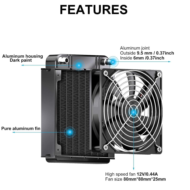 NA Aluminum Computer CPU 8 Tubes Water Cooling Heat Exchanger Radiator 80 mm Black