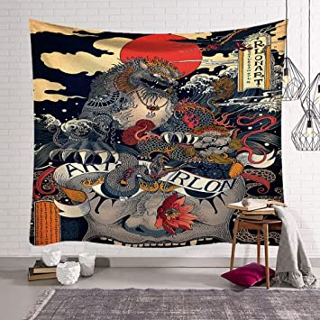 Tapisserie Tenture Vintage Style Chinois Monster Colores