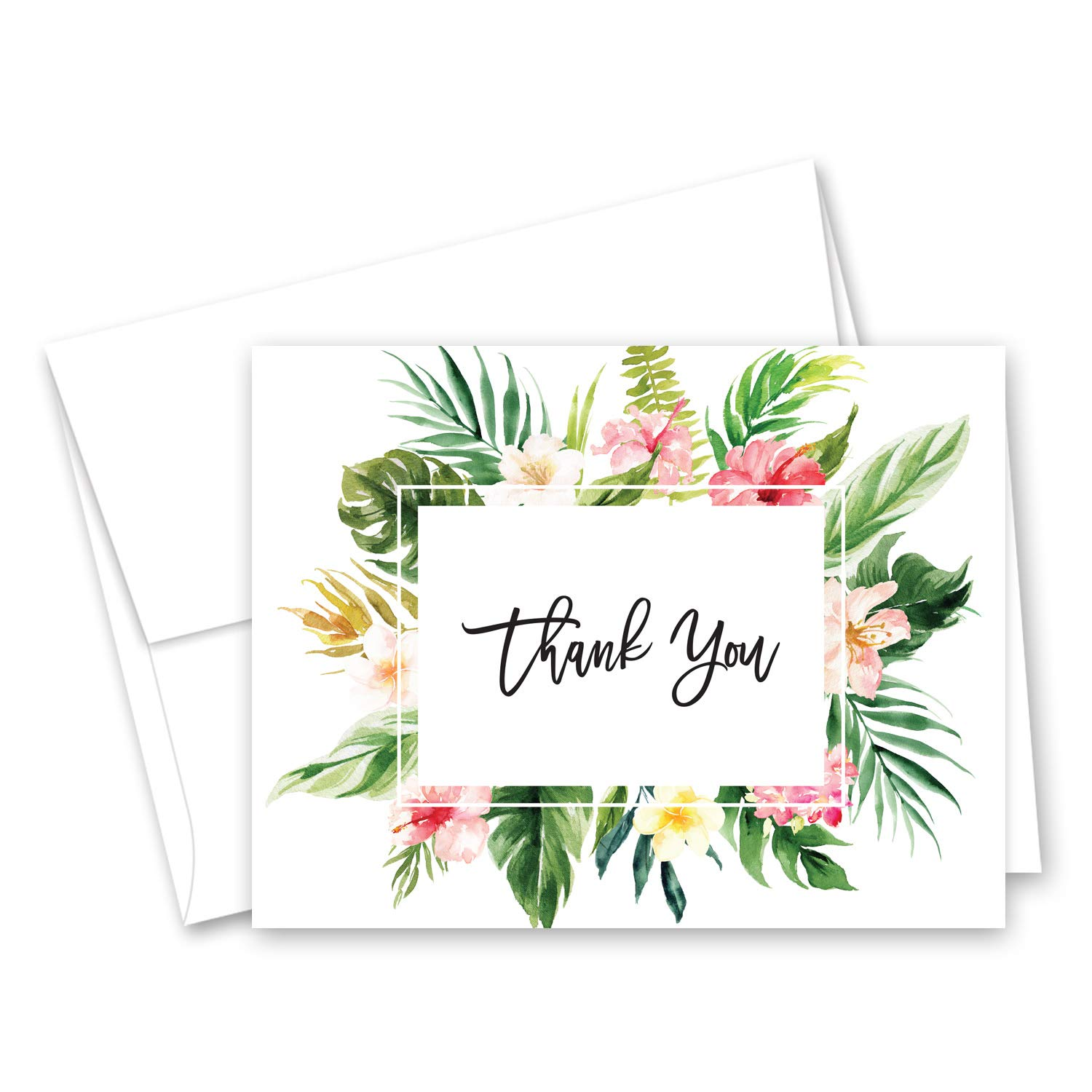 InvitationHouse Tropical Floral Thank You Cards and Envelopes - Set of 50