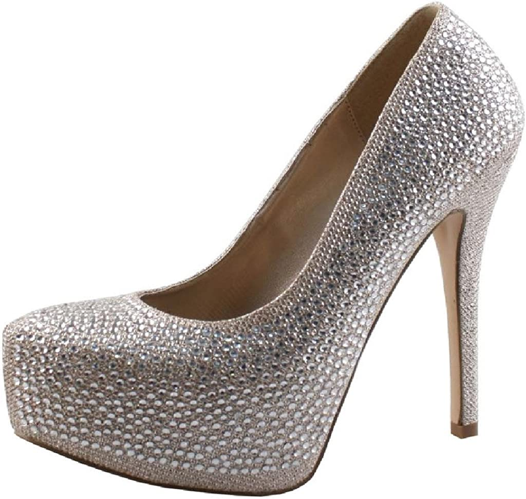 Ladies Gold Diamante Glittery Courts Prom Party High Heel Platform Slip On Shoes