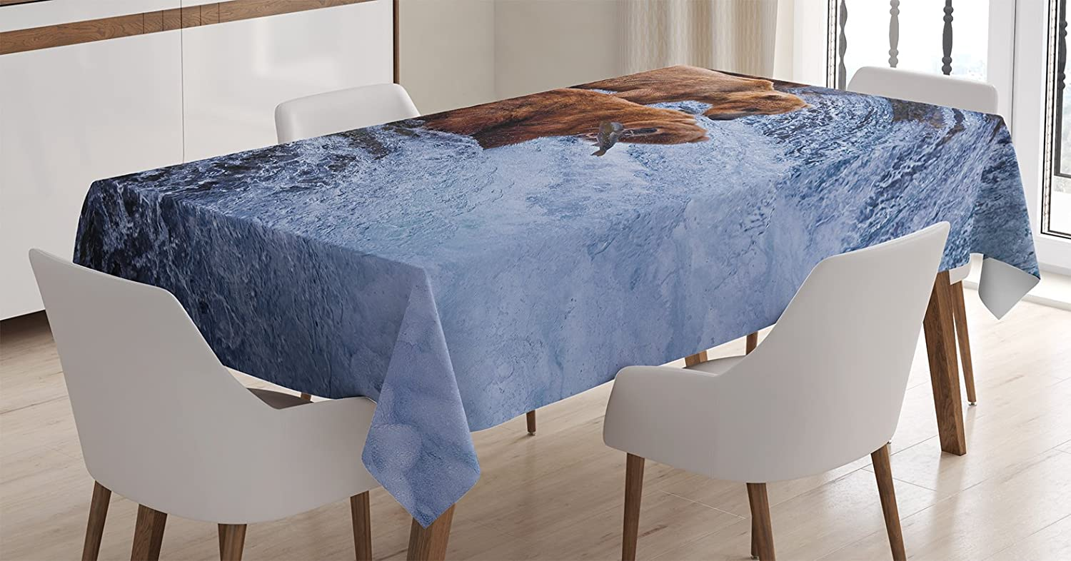Ambesonne Wildlife Decor Tablecloth, Grizzly Bears Fishing in River Waterfalls Cascade Alaska Nature Camp View, Dining Room Kitchen Rectangular Table Cover, 52 X 70 inches, Brown White