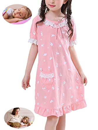 4d358fa71a Amazon.com  Zegoo Family Match Cotton Nightgown Girls Short Sleeves ...