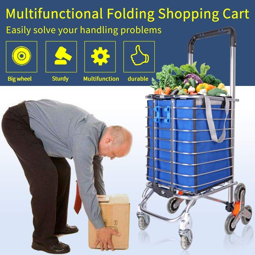 KELIXU Folding Shopping Cart Lightweight Stair Climbing Cart Grocery Utility Cart with Removable Waterproof Canvas Bag and Strong Aluminum Architecture /…