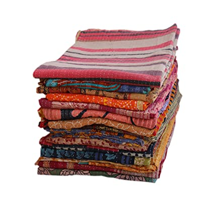 2b3471376c Stylo Culture Indian Vintage Kantha Quilts Bedspreads Twin Printed Kantha  Bengali Gudri Throw Vintage Cotton Quilt