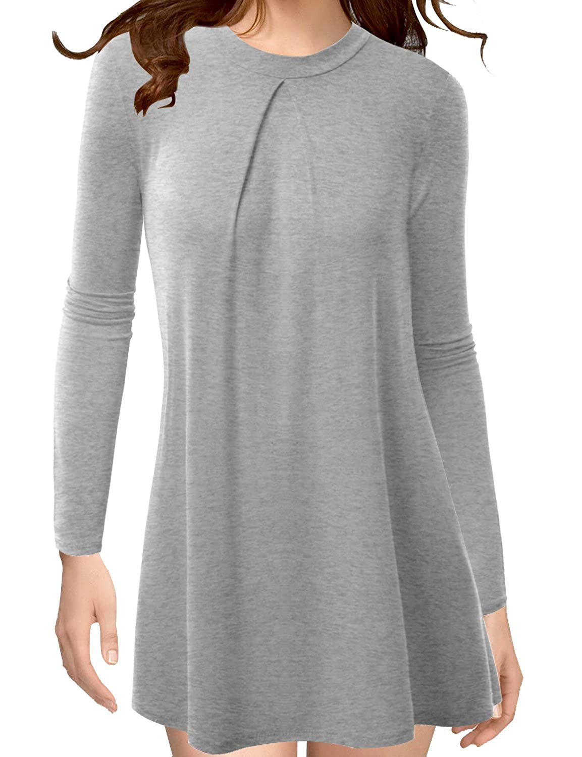 TWINTH Loose Fit Tunic Top High Neck Longsleeve Pleats Plus Size NEWCWTTL0120