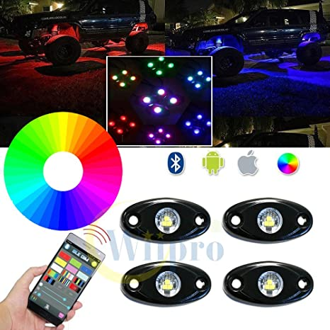 Amazon wiipro rgb led rock lights app bluetooth control with 4 wiipro rgb led rock lights app bluetooth control with 4 pods neon lighting bar for jeep mozeypictures Gallery