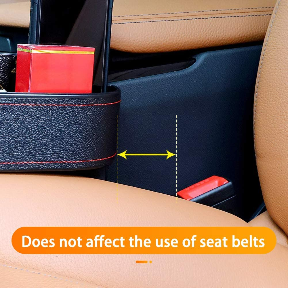 FADZECO Leather Car Storage Box Car Seat and Console Gap Storage Box Cup Holder Used for Water Cup Mobile Phone Change Storage