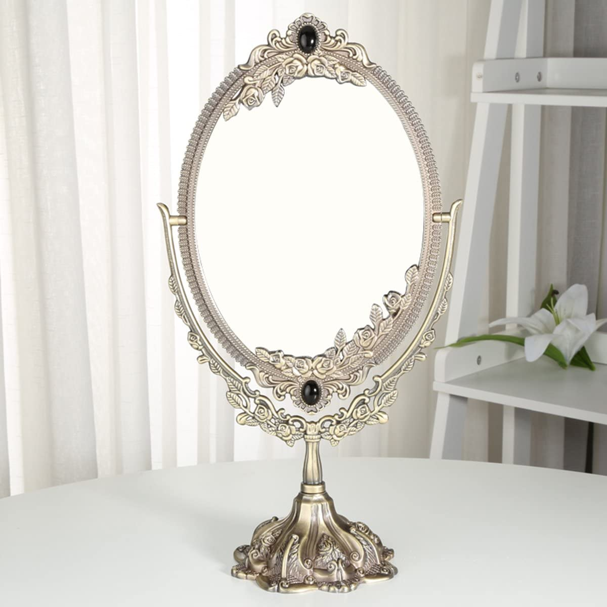KINGFOM Antique Two Sided Swivel Oval Desktop Vanity Makeup Mirror with Embossed Roses and Mounted Beads for Home, Jewelry or Watches Cosmetics Showcase Large, Bronze