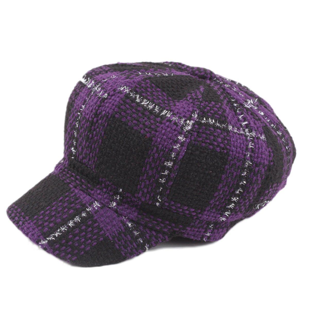 ZLSLZ Womens Knitting Plaid IVY newsboy Cabbie Gatsby Paperboy Painter Hats Caps