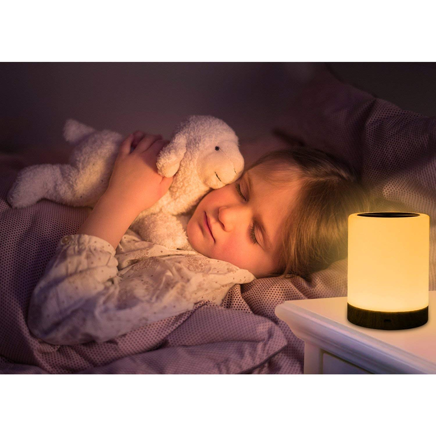 ROYFACC Night Light Touch Sensor Lamp Bedside Table Lamp for Kids Bedroom Rechargeable Dimmable Warm White Light + RGB Color Changing by ROYFACC (Image #4)