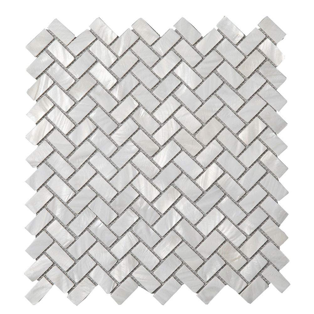 Diflart Oyster Mother of Pearl Shell Mosaic Tile 10 Sheets/Box (Herringbone, Pearl Shell)
