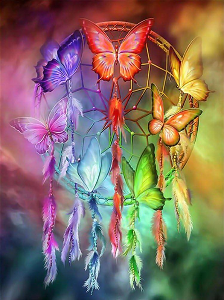 Yeesam Art Kit De Pintura De Diamantes 5d Atrapasueños De Mariposas De Color Diy Con Cristales De Diamante De Imitación De Pintura Pegada Por Número Kits De Punto De Cruz