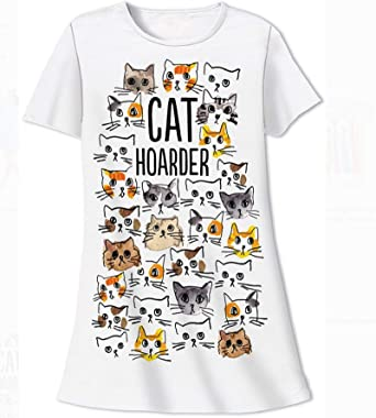 d53d28df506cb Amazon.com: Relevant Nightshirt Says Cat Hoarder with Lots of Cat ...