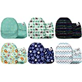 Mama Koala One Size Baby Washable Reusable Pocket Cloth Diapers, 6 Pack with 6 One Size Microfiber Inserts (Jagger)