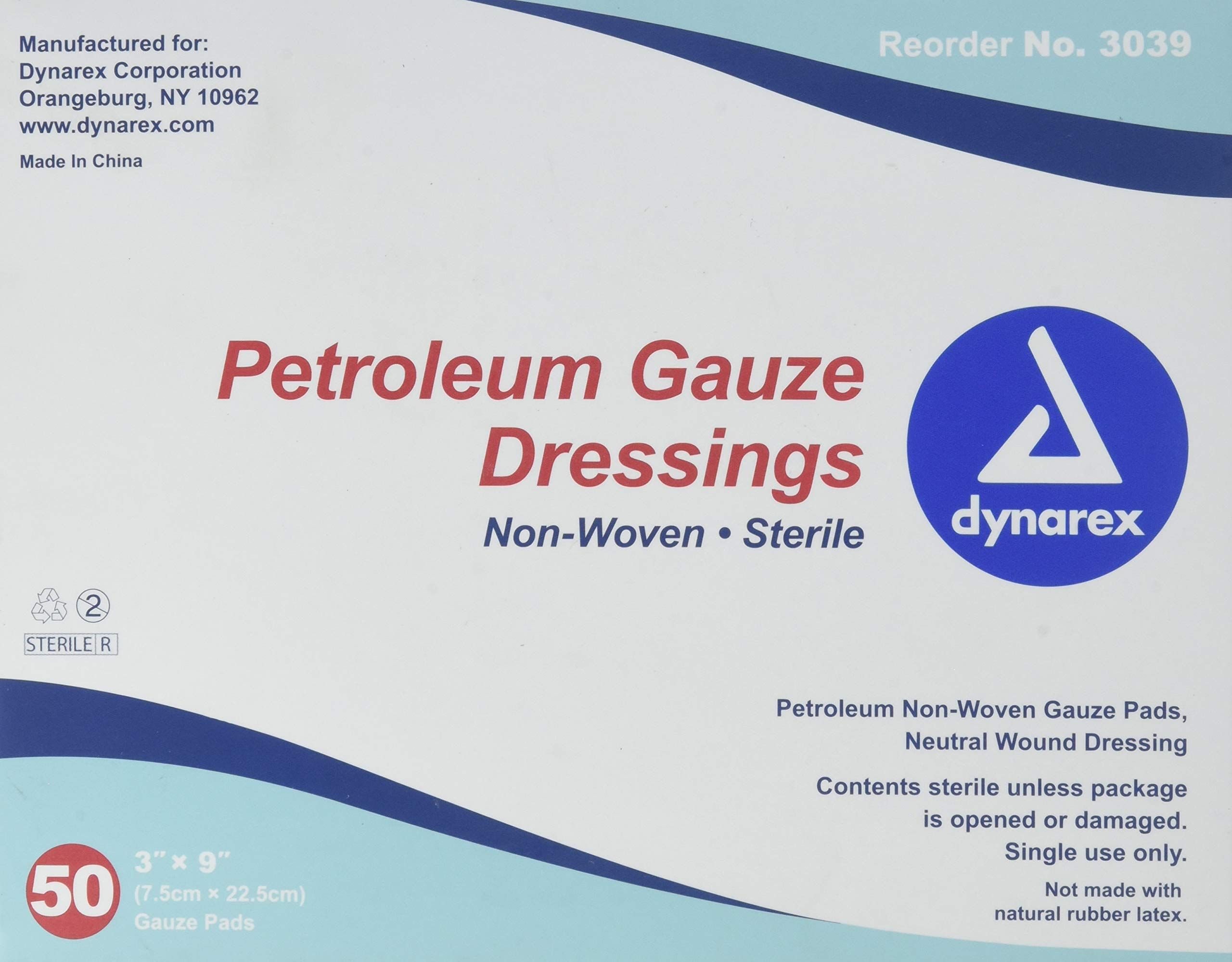 Dynarex Sterile Petroleum Non Adhering Gauze Dressing for Wounds, 50 Count by Dynarex