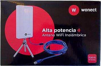 MELON N89A Antena wifi exterior e interior 2000mw + 24 dbi 10 metros usb. Receptor inalámbrico externo con módulo wireless Ralink RT3070. Compatible ...