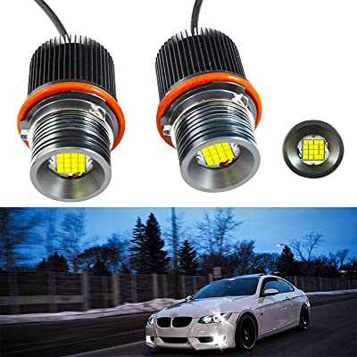 Xotic Tech 80W Angel Eye Ring Marker Light Bulb for BMW E39 E60 E63 E53,7000K Xenon White - 2 Pieces: Automotive