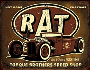 "Desperate Enterprises Torque Brothers Speed Shop - Rat Rod Tin Sign, 16"" W x 12.5"" H"