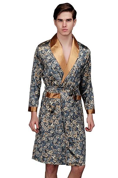 Vdual Pijamas de Satén de Seda para Hombres Ropa de Dormir Camisón Bata de Baño Vestido
