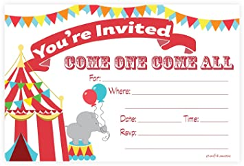 Amazon.com: Carnival Circus Invitations - Birthday Party or Baby ...