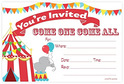 Amazon Carnival Circus Invitations