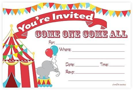Amazon.com: Carnival Circus Invitations - Birthday Party or Baby ...