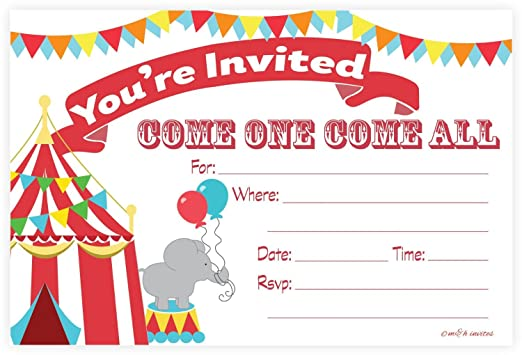 Amazon carnival circus invitations birthday party or baby amazon carnival circus invitations birthday party or baby shower fill in style 20 count with envelopes by mh invites toys games stopboris Images