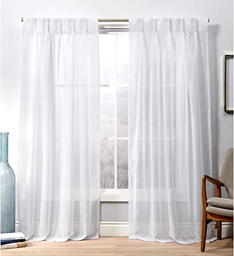 Exclusive Home Curtains Penny Pinch Pleat Curtain Panel, 50×108, Winter White, 2 Panels